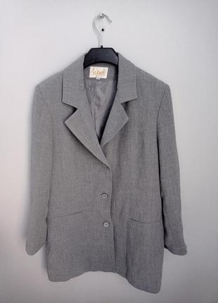 Серый удлинённый пиджак жакет винтажный