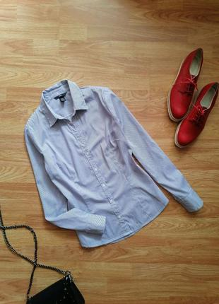 Женская строгая офисная брендовая сиреневая рубашка в полоску h&m - размер 42-44
