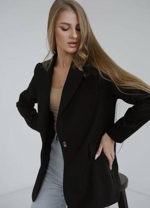 Черный пиджак , пиджак прямого кроя, пиджак 44 размер