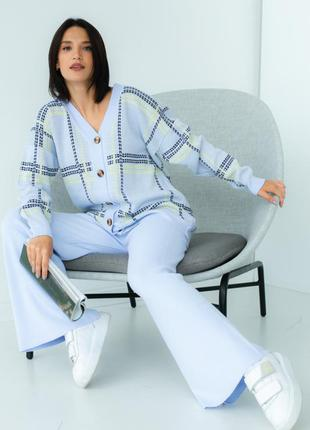 Костюм вязаный голубой двойка кардиган брюки кюлоты