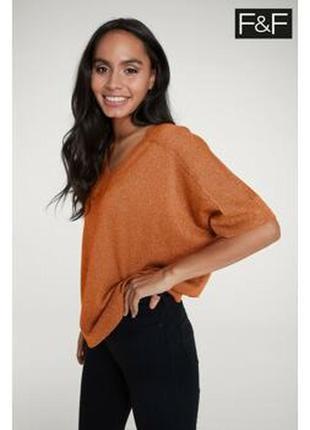 Брендовая оранжевая блуза лонгслив f&f бангладеш вискоза люрекс этикетка