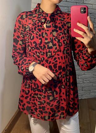 Шифоновая вискоза блуза рубашка в леопардовый принт