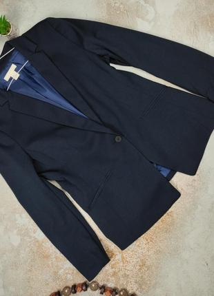 Пиджак жакет синий привлекательный классический h&m uk 16-18