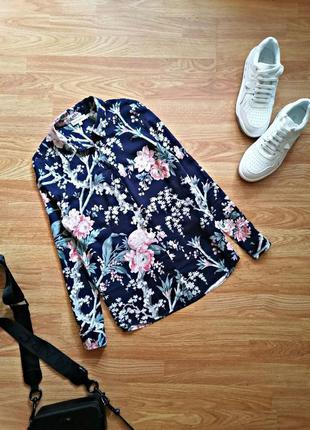 Женская легкая натуральная батистовая брендовая синяя рубашка в цветы warehous - размер 42