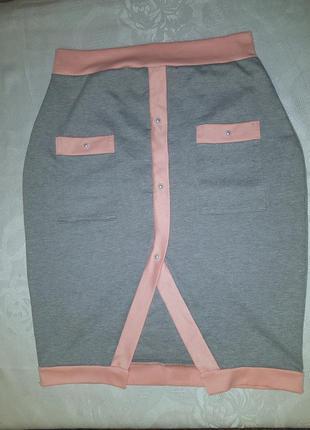 Юбка спідниця карандаш олівець розпорка серо-розовая с жемчужинами жемчугом и карманами