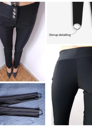Черные леггинсы со штрипками тренд от marie claire на пуговицах s m женские брюки