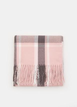 Новый длинный розовый шарф серая белая полоска клетка полосатый клетчатый