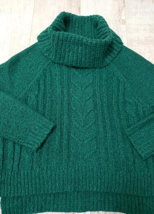 Теплый свитер с горловиной хомут/вязаный оверсайз