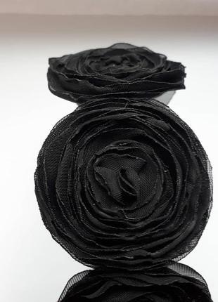 Обруч, ободок цветы из ткани, чёрные цветы, хеллоуин