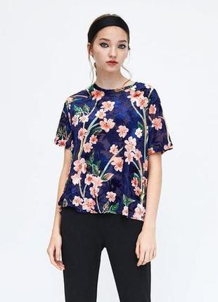 Блуза новая стильная велюровая в цветы оригинал zara m