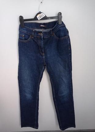 Плотные синие прямые джинсы