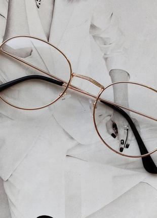 Ретро имиджевые очки с прозрачной линзой золотой