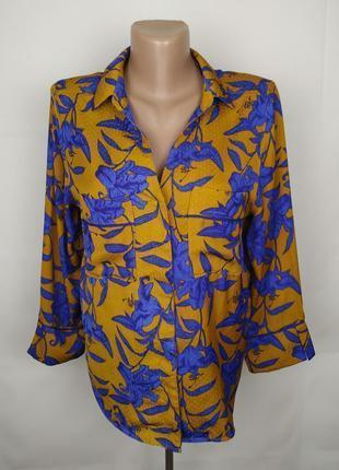 Блуза красивая в цветы h&m uk 14/42/l