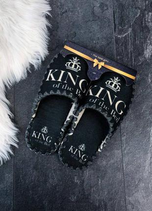 Черные фетровые мужские тапочки king 👑 домашние тапки фетр