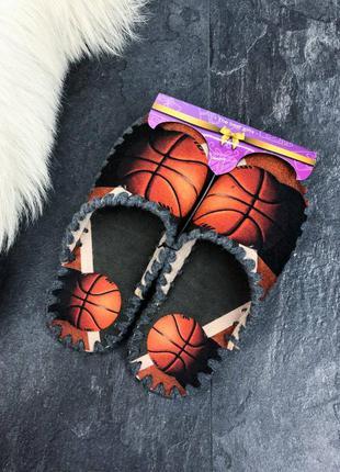 Оранжевые фетровые мужские тапочки с мячом баскетбол 🏀 домашние тапки фетр