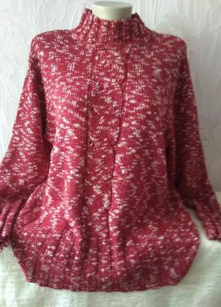 Эффектный меланжевый свитерок большого размера.