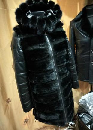 Акция теплая зимняя куртка с норкой, кожаная курточка, шуба, шубка норка