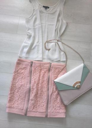 Ажурная нежная розовая юбка luizacco paris