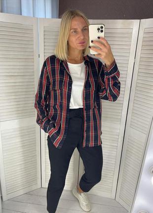 Крутая рубашка из вискозы с карманами в клетку zara