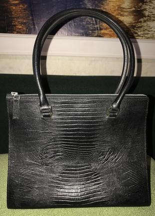Шикарная сумка zara натуральная кожа рептилия оригинал