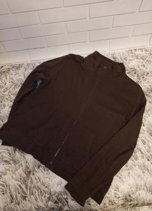 Женская толстовка tu brown, женская кофта на молнии коттон, базовая спортивная кофта коричневая