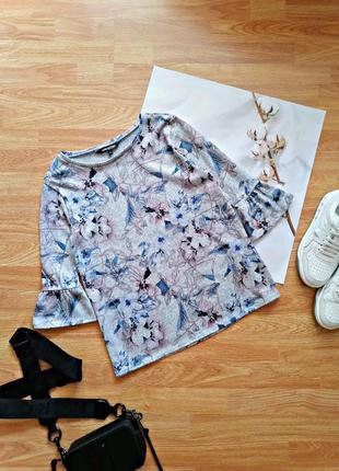 Женский серый брендовый джемпер - кофта оверсайз в цветы debenhams - размер 44