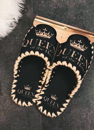 Черные фетровые тапочки queen 👑 женские домашние тапки фетр