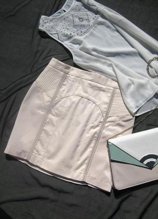 Очень крутая юбка h&m светло розовая бандажная обтягивающая