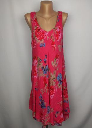 Платье натуральное двухслойное розовое итальянское uk 14-16