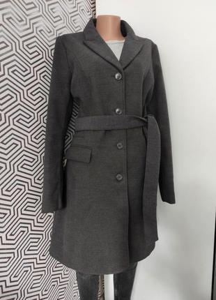 Пальто тренч теплое вискоза  шерстяное серое с поясом карманами длинное серое от hm m тренд сезона