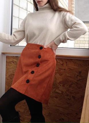 Замшевая юбка l- m новая / брендовая юбочка / тепла спідниця коричнево цегляний колір