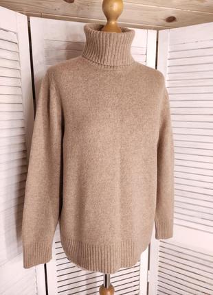 Бежевый шерстяной свитер m&s