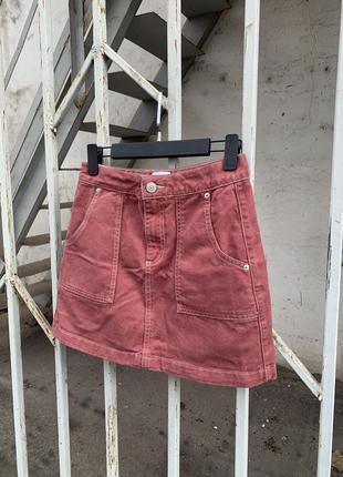 Юбка с контрастной строчкой, мини юбка, джинсовая мини юбка
