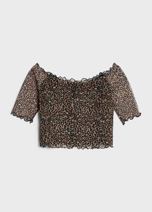 Леопардовый топ сеточка на подкладке 🐆