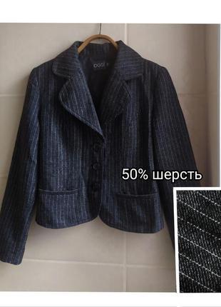 Винтажный пиджак / жакет oggi в мелкую полоску 50% шерсти