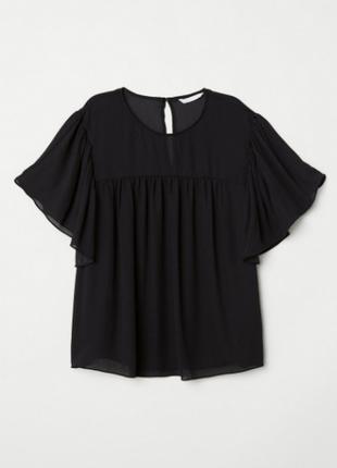 Блуза новая модная с рукавом воланом h&m uk 10-12/38-40/s-m