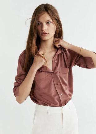 Сатиновая бузка блуза шёлковая mango