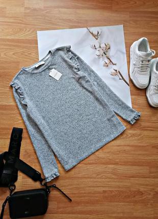 Женский новый серый брендовый джемпер - кофта - свитер с оборкой - воланами oasis - размер 44