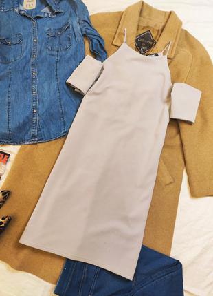 Missguided платье серое прямое трапеция с открытыми плечами