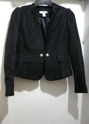 Пиджак жакет h&m чёрный твидовый