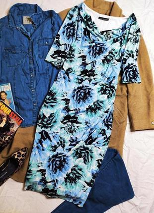 David emanuel платье голубое синее чёрное белое по фигуре миди карандаш футляр большое батал