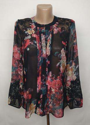 Блуза легкая цветочная шифон кружево marks&spencer uk 8/36/xs