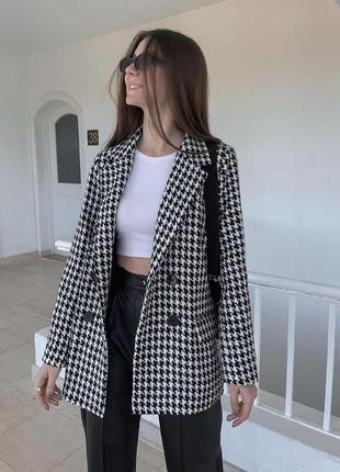 Пиджак женский твидовый в принт белый с черным