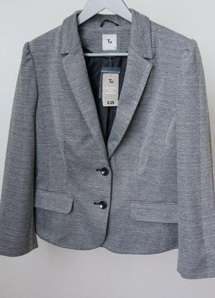 Классический серый пиджак жакет tu размер 16