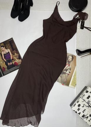 Новое коричневое шифоновое платье комбинация на тонких бретелях s m