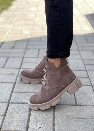 Рр 36-40.мокко демисезонные ботинки из натуральной замши