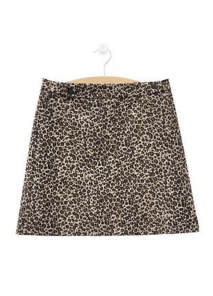 Стильная юбка трапеция из легкого жаккарда животный принт topshop