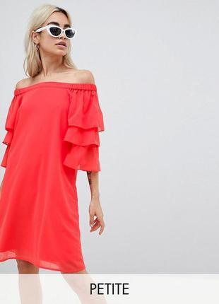 Vero moda платье оранжевое красное коралловое с открытыми плечами новое с воланом