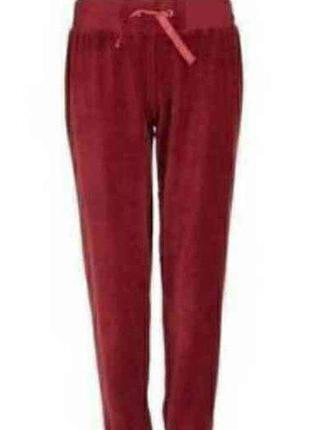 Велюровые штаны для дома и отдыха бордового цвета esmara l(44-46) xl(48-50)