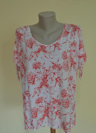 Красивая легкая натуральная трикотажная блузочка коттон+вискоза